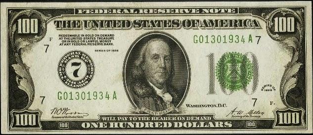 100 долларов США, выпущен ФРС, 1929