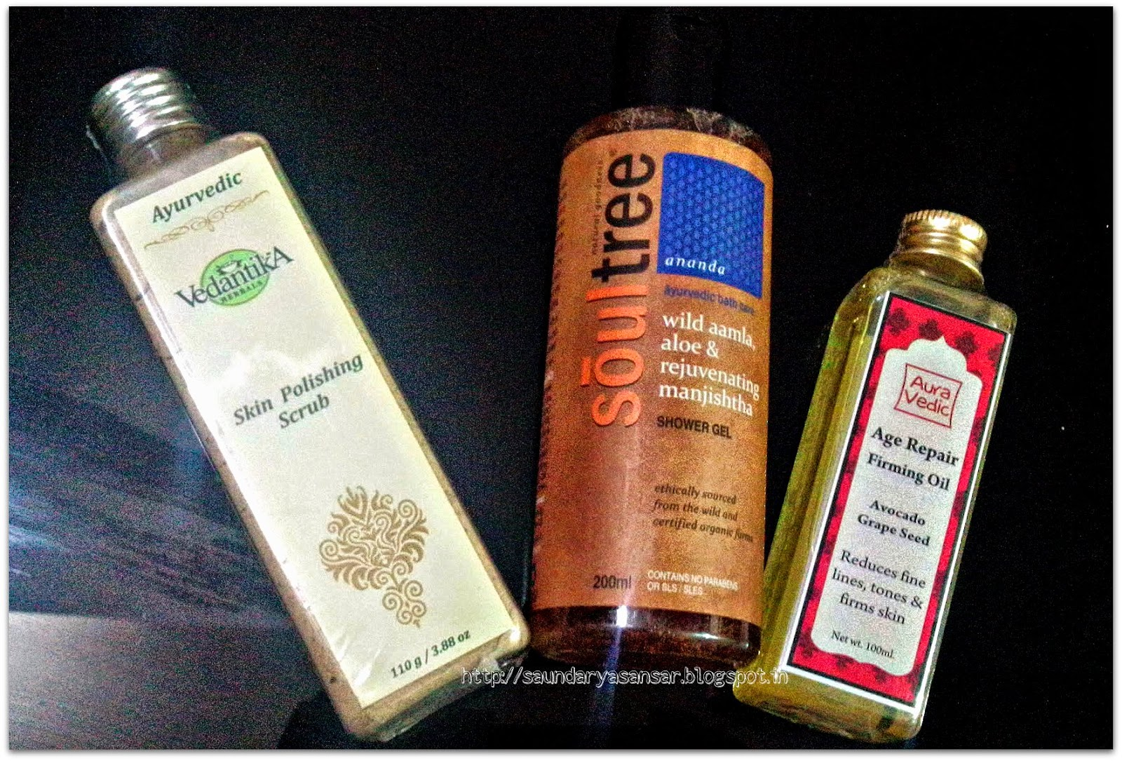 Vedantika Skin polishing Scrub, Soultree Wild Amla Shower gel, AuraVedic Age Repair Firming Oil First Impressions