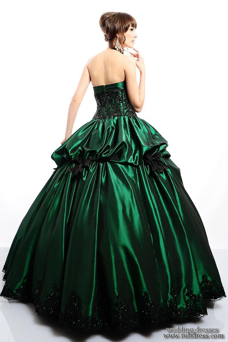 Green Mixed Black Wedding Dress Designs With Corset | Dressespic 2013