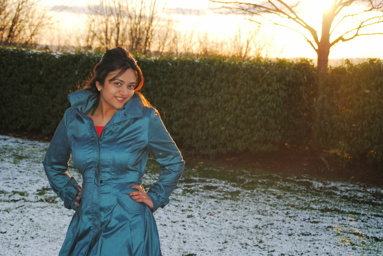 blue vintage coats,blue  trench coats, red dress with a blue coat, ananya kiran, seattle fashion blogger