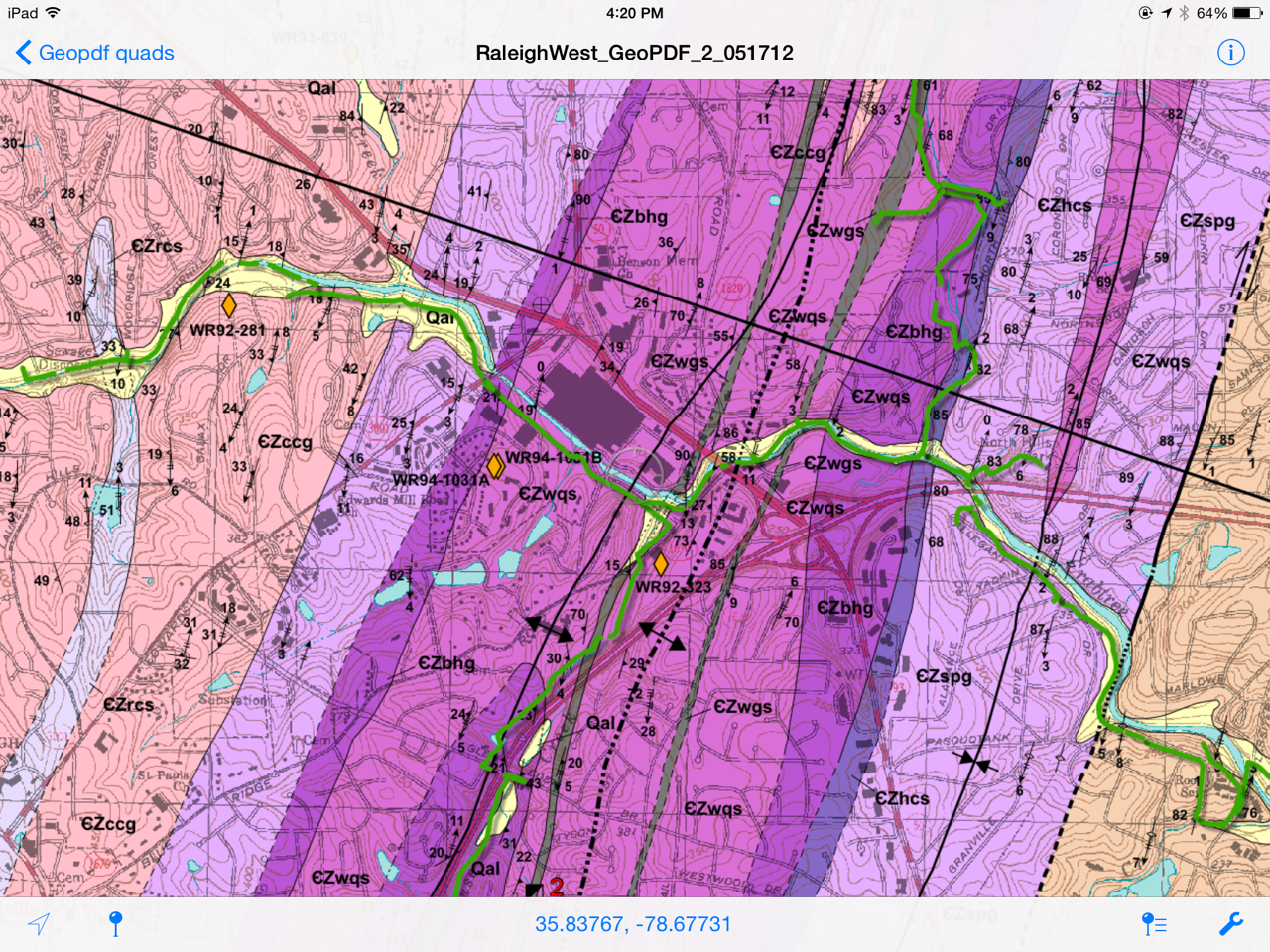 excerpt from geological map of the raleigh west quadrangle blake d e 2005 available at http portal ncdenr org web lr geopdfs geologic maps