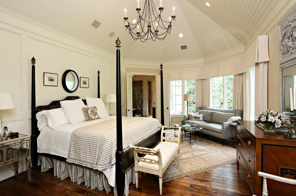 French country style modern mcmansion with french country farm house charm Modern chic master bedroom
