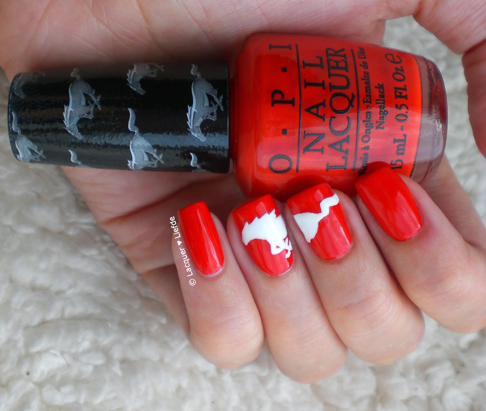OPI Mustang Collection Race Red with Angle with a Leadfoot