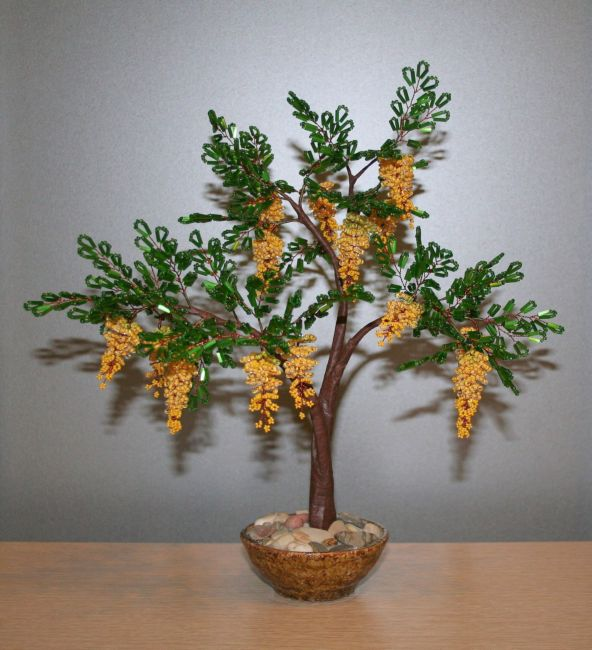 Дерево из бисера желтая скация бонсай из бисера мастер-классс.