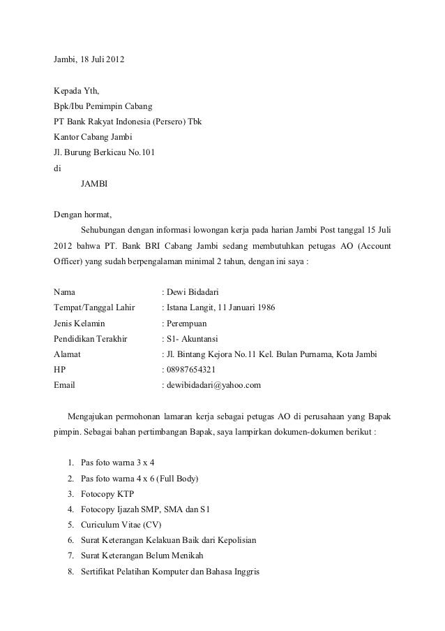 Contoh Surat Lamaran Bank Bri Jawkosb