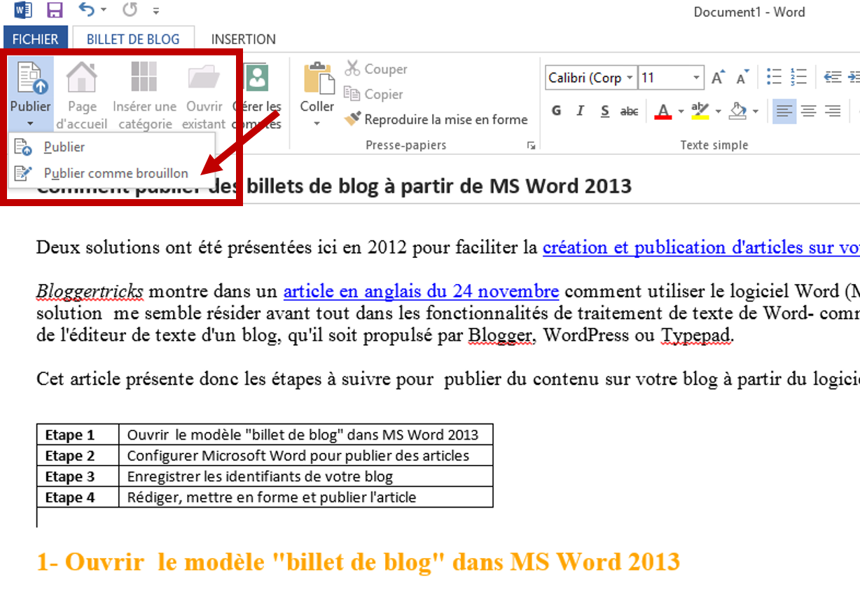 Bloguer à partir de MS Word 2013