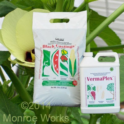 Certified Organic worm castings and VermaPlex for okra