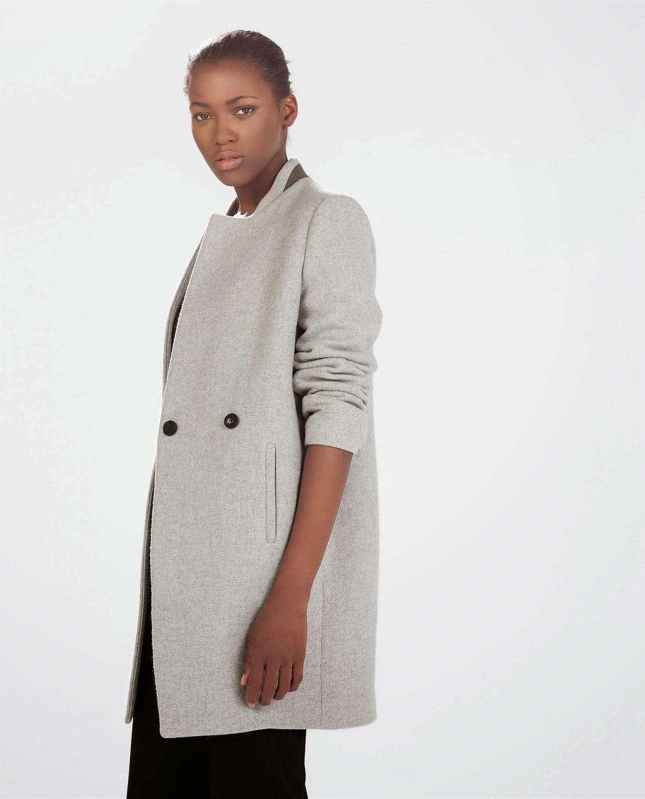 zara light grey coat, zara grey wool coat,