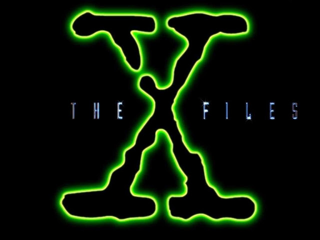 "The X Files Logo - Fluorescent Green Evocative of Alien Things Highlights a Large Virus-Edged Black ""X"" Centered Between The Smaller-Font Metallic Looking Words ""The - Files"""