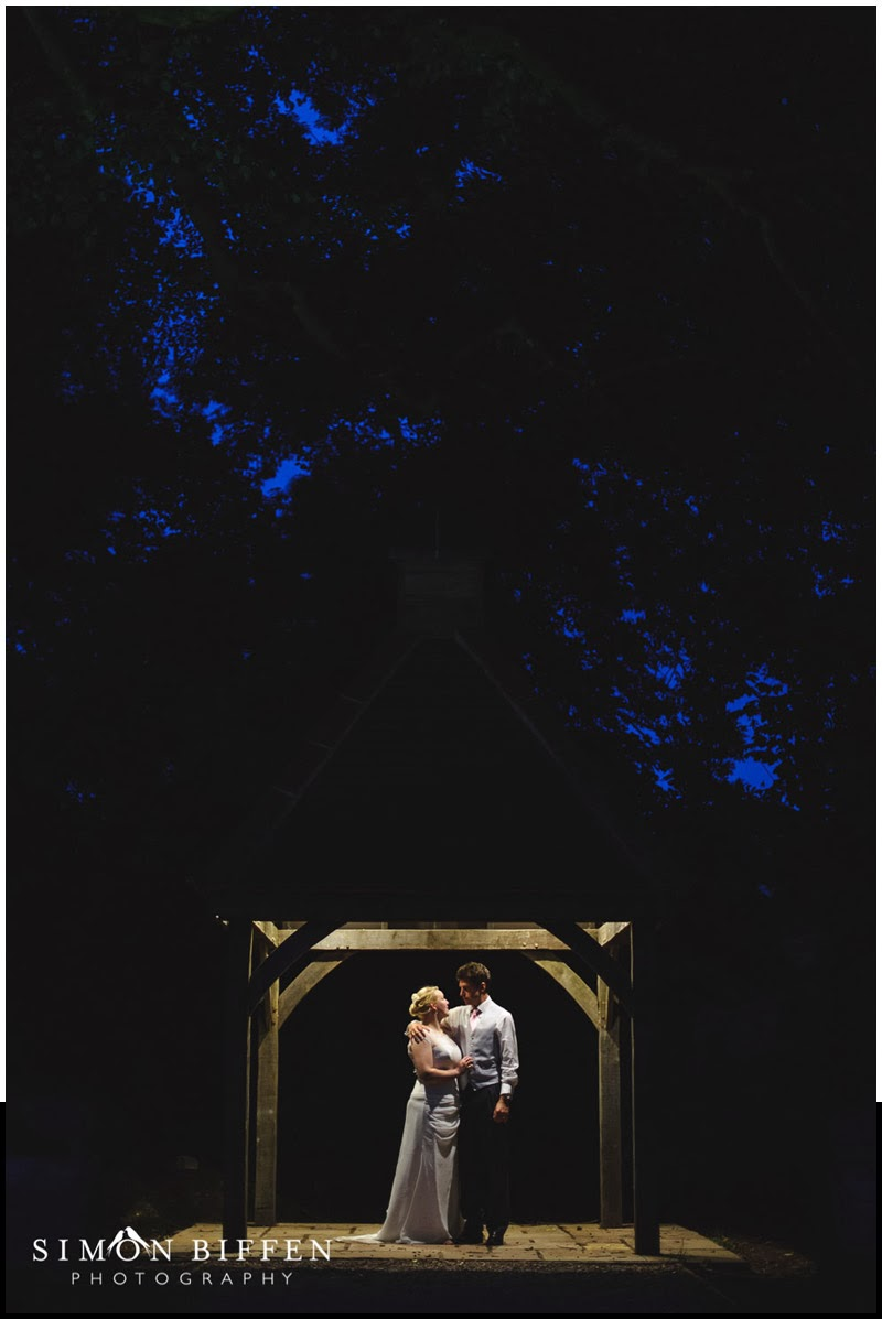 Bride and groom at night at Huntsham Court