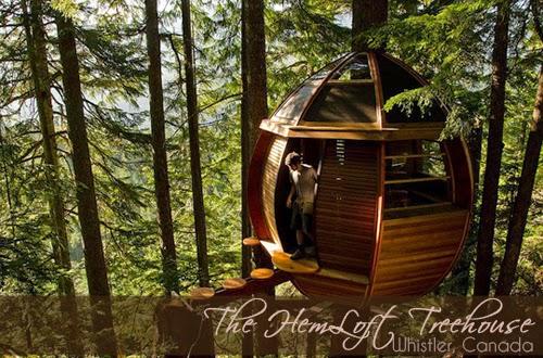 Joel Allen, Hemloft treehouse, rumah atas pokok, tempat menarik di canada