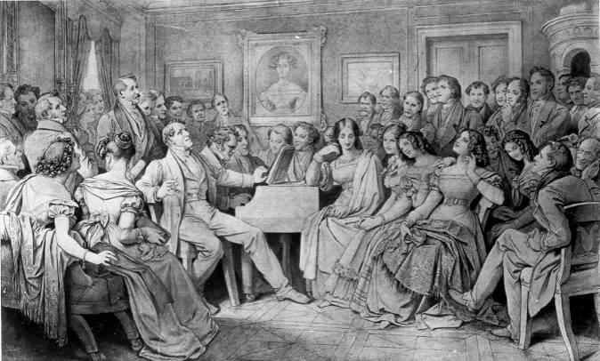 Moritz von Schwind's 1868 drawing of a Schubertiade