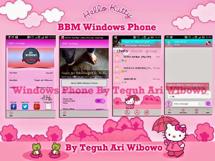 BBM Mod Clone Hello Kitty Pink Theme v2.5.1.46 Lucu