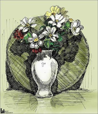 dessin par hachures croisées (vase de fleurs)