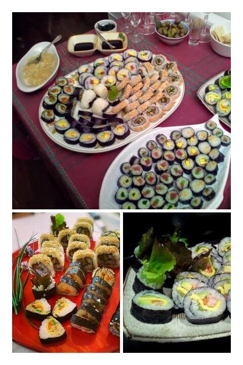 vassoi con sushi misto