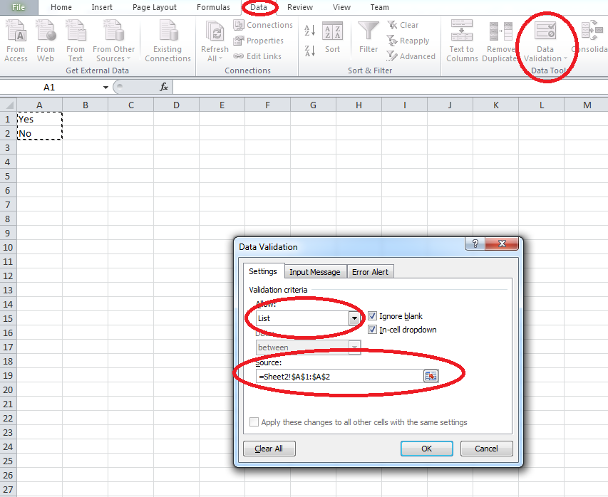 how to create drop down menu in excel spreadsheet