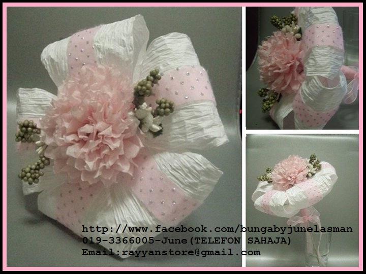 Tempahan bunga tisu untuk bunga pahar/bunga telur/aqiqah
