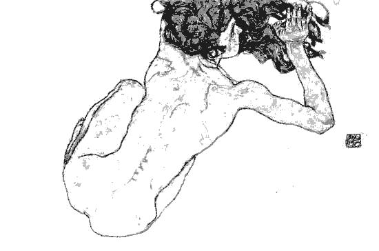 Egon Schiele  -  Kauernder Rücken-Akt