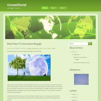 GreenWorld blogger template. blogger template from wordpress theme