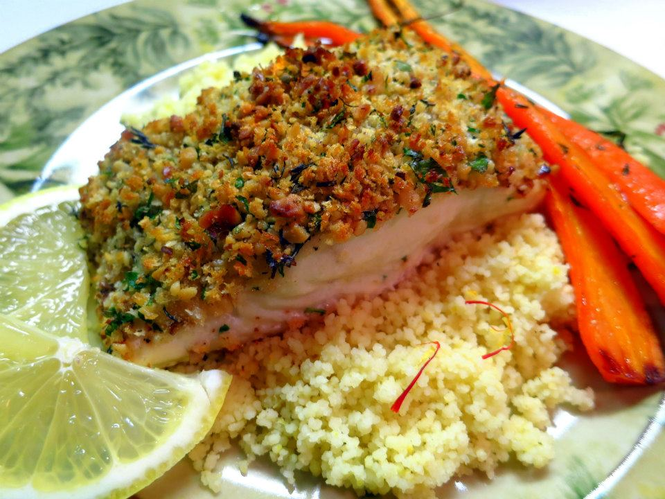 Dragon's Kitchen: Roasted Halibut with Walnut Herb Crust