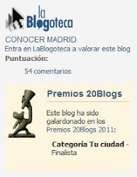 """Finalista Premios 20blogs VI Edición Categoría """"Tu Ciudad"""""""