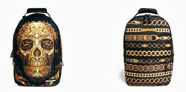 mochila urbana de calaberas y cadenas de oro