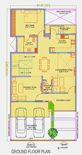 Golf Country, Yamuna Expressway :: Floor Plans,Golf Villa (200 sq. yd.):-Ground Floor Plan Plot Area: 1322.68 Sq. Ft.
