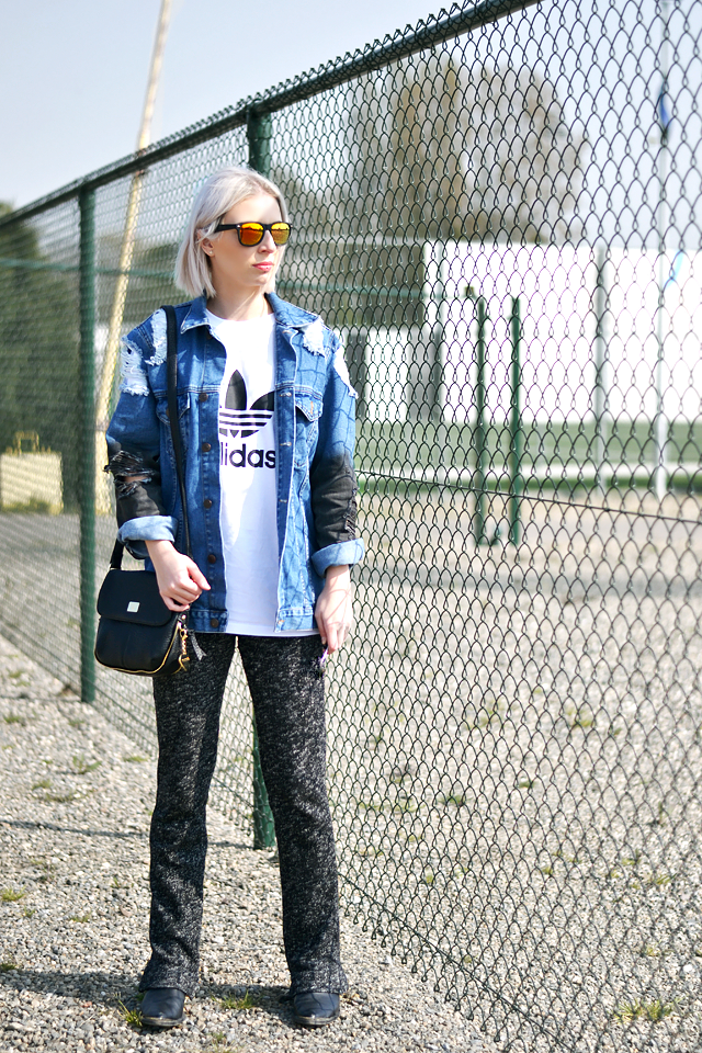 Ripped jacket, denim, asos, adidas logo, t shirt, tee, marc b bag, dylan bag, mirror sunglasses, flared trouses, h&m, knit pants, western boots