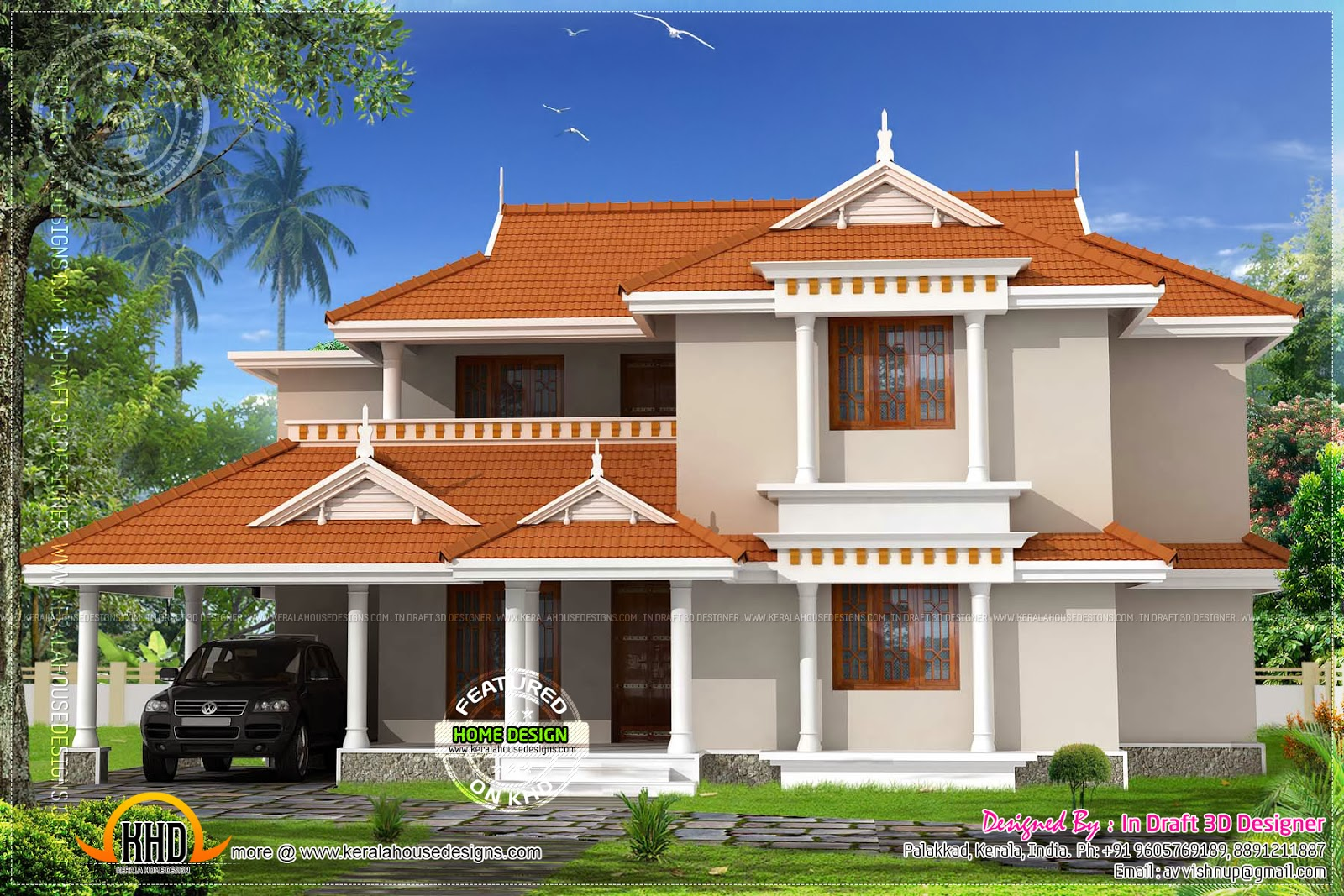 Awesome elevation of kerala style house home kerala plans for Kerala home elevation styles