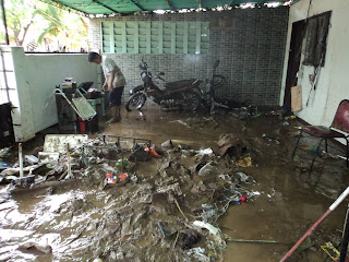 messy flooded house