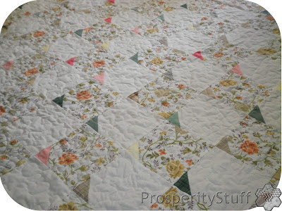 ProsperityStuff Vintage Sheet Quilt with Shirt-Fabric triangles