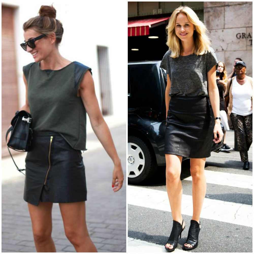 fall 2014 trends - black leather mini skirt outfit street style look fashion - tee plain t-shirt outfit