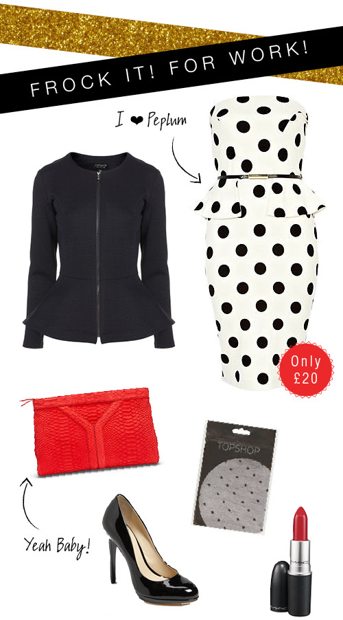 Polka-dot Peplum Dress - Work Mood Board