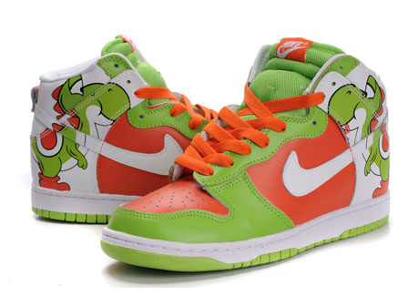 yoshi nike dunks high tops shoes green. yoshi nikes high brass monki dunks 23a5f686c7dd