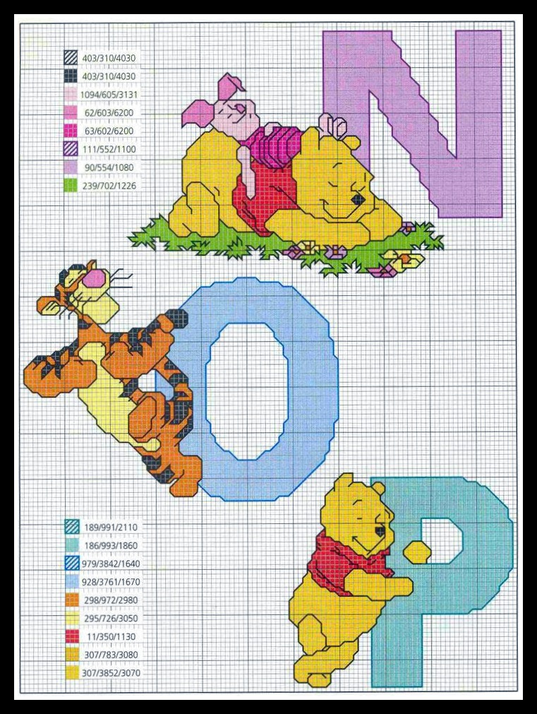 Pensa realizza schemi a punto croce alfabeto winny pooh for Alfabeto disney a punto croce