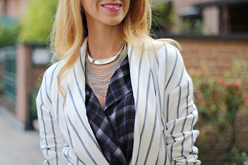 striped blazer, red mini bag, tartan blouse, silver chain necklace, fall outfit