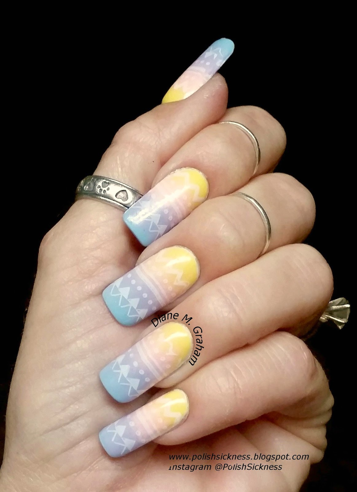 Cult El Porto and The Roxy, Square Hue Yellow Submarine, China Glaze Spring in My Step, Sinful Colors Bright Lucite gradient, MoYou Pro XL03 Easter stamp