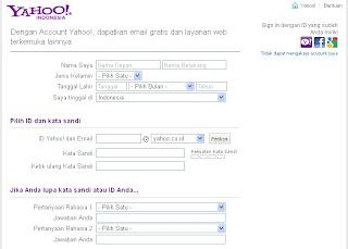 Pendaftaran Akun Yahoo