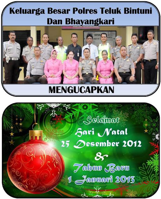 Desain Kartu Ucapan Natal 2012 dan Tahun Baru 2013 Polres Teluk Bintuni Halaman dalam Desain 1