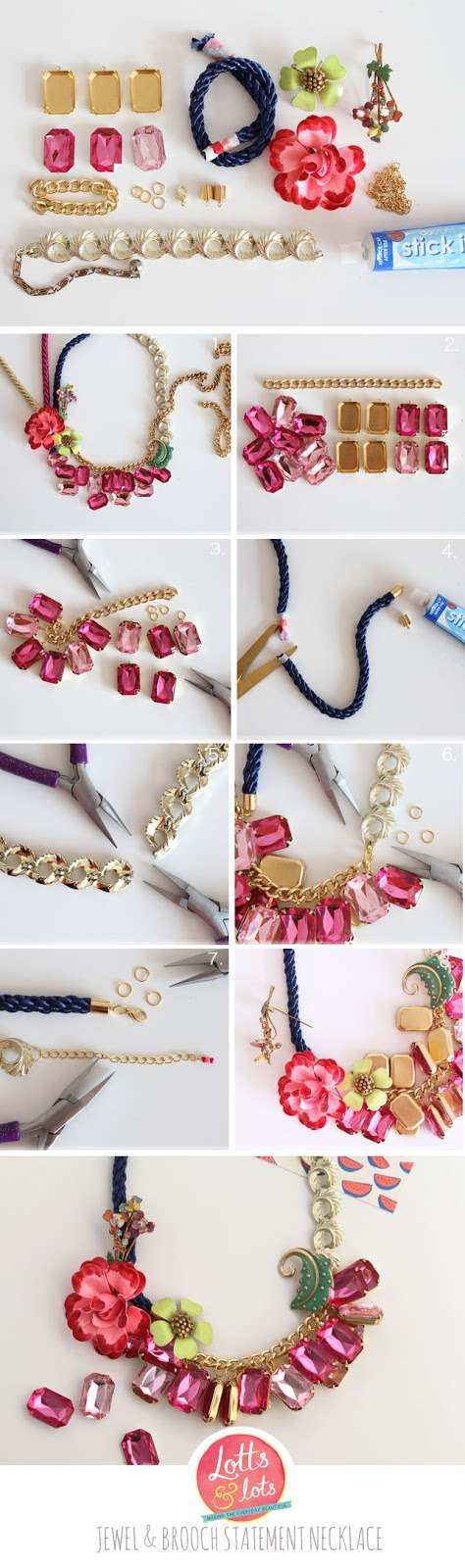 DIY - jewel and brooch statement necklace | Lotts and Lots ...