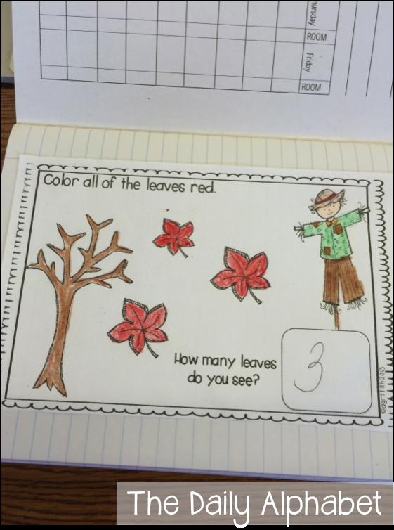 Kindergarten Calendar Journal : Fall math journals for kindergarten the daily alphabet