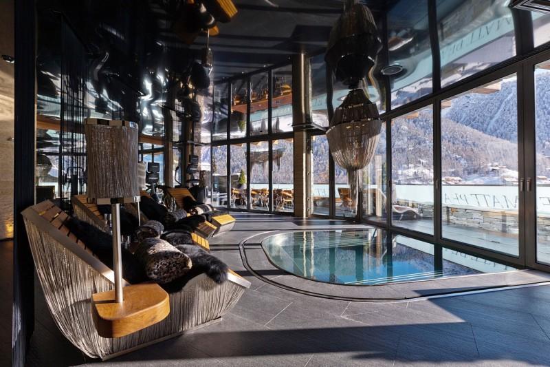 mountain home pool room in swiss alps courtesy of chalet zermatt peak - Home Designs Swiss Mountain