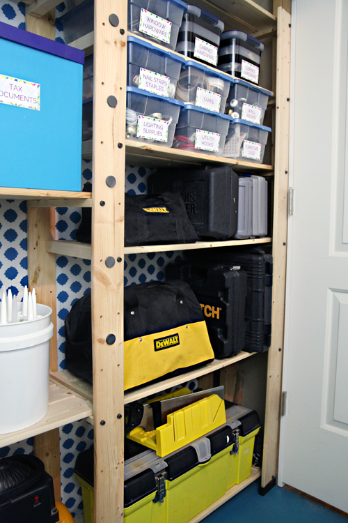Our Air Compressor As Well As A Few Other Random Items Fill The Remainder  Of The Attached Shelves.