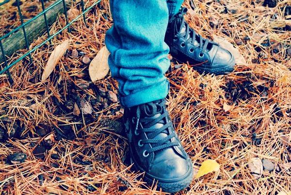 Leather Black Converse Hightops