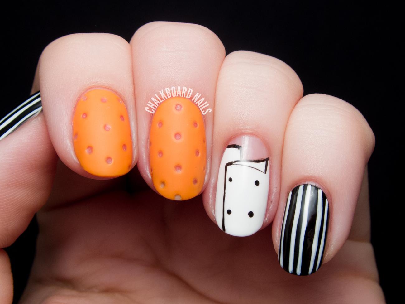 Mario Batali\'s Orange Crocs Nail Art | Chalkboard Nails | Nail Art Blog