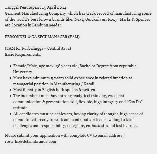 Rekrutmen Kerja Purbalingga Terbaru April 2014