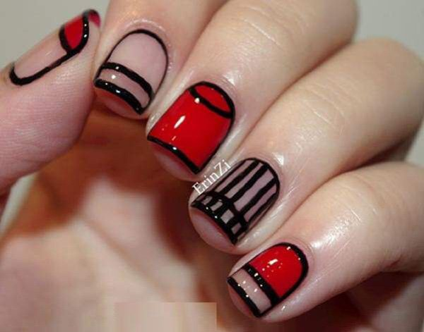 Red and black comical winter nail art. Bring some attitude into your