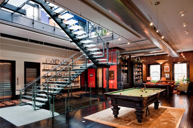 Photo Of Pool Table On The Second Floor Of Tribeca Triplex Along With