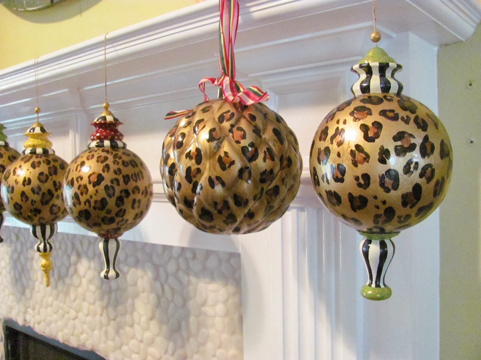 "large finial style leopard print 10"" ornaments"