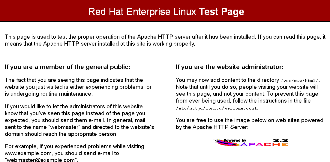 Red Hat Enterprise Linux Test Page